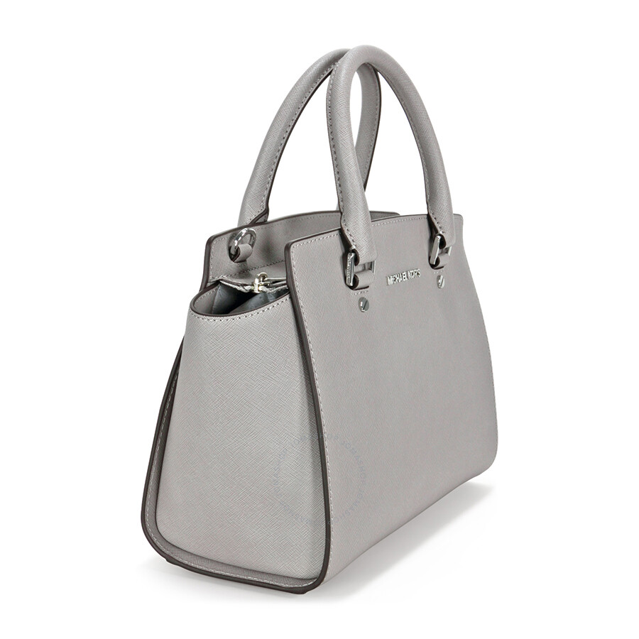77f51581deb4 Michael Kors Selma Medium Leather Satchel - Pearl Grey - Selma ...