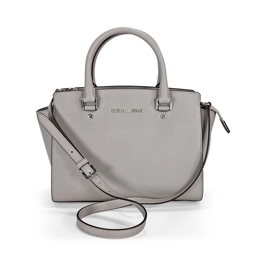 7ff4b26e1a47 Michael Kors Selma Medium Leather Satchel - Pearl Grey Item No.  30T3SLMS2L-081