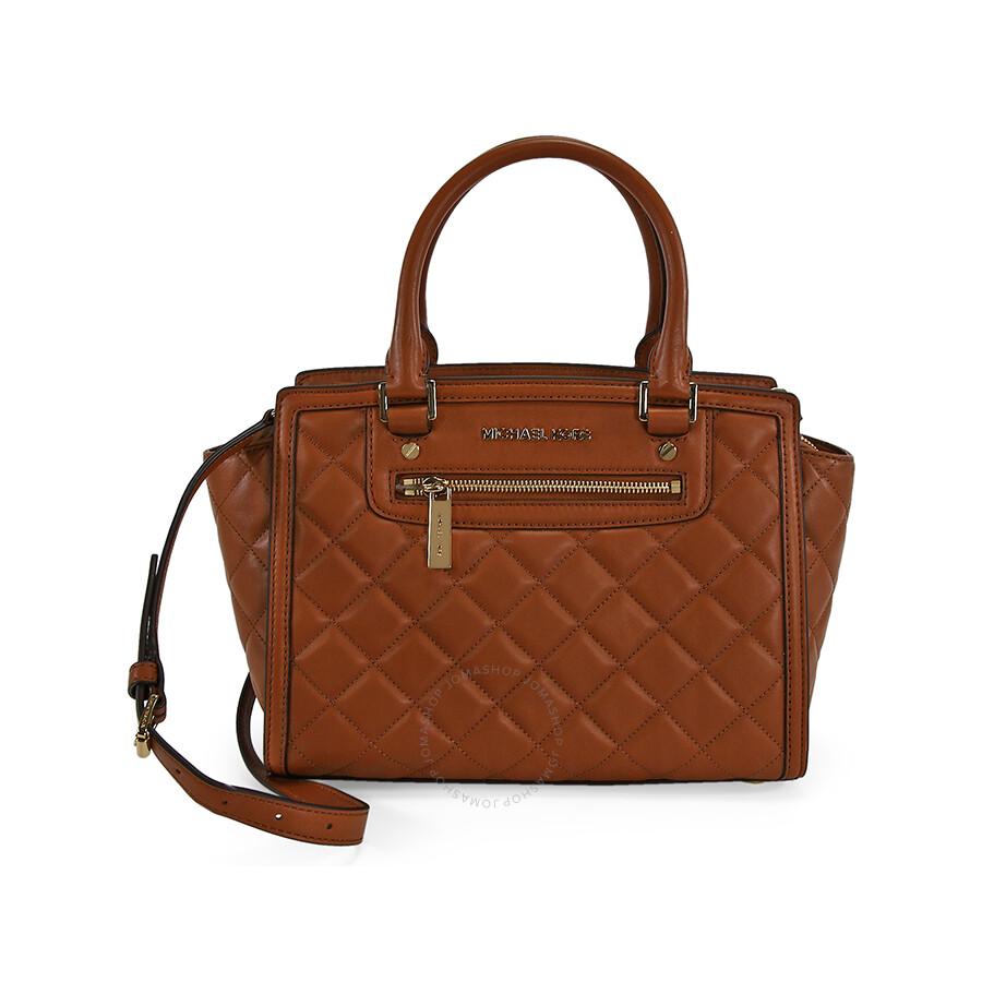 michael kors selma medium quilted leather satchel walnut selma michael kors handbags. Black Bedroom Furniture Sets. Home Design Ideas