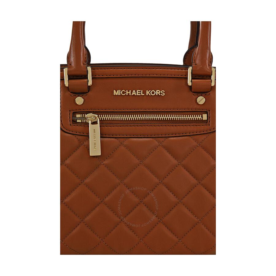 ee04efb182d36 Michael Kors Selma Medium Quilted Leather Satchel - Walnut - Selma ...