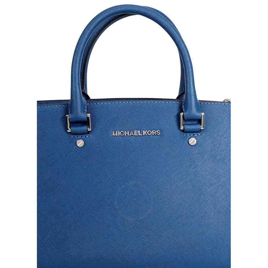 43eb3bf8f23638 Michael Kors Selma Medium Saffiano Leather Satchel - Steel Blue ...