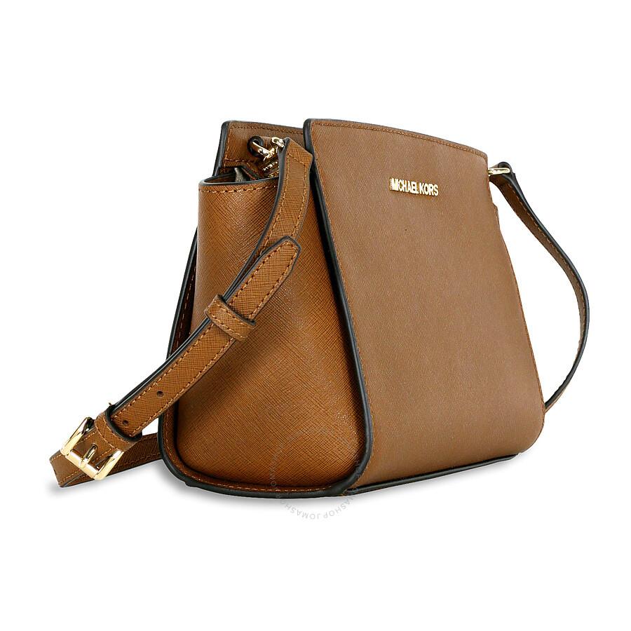 87c6ce2dadca Michael Kors Selma Saffiano Leather Medium Messenger Bag - Luggage ...