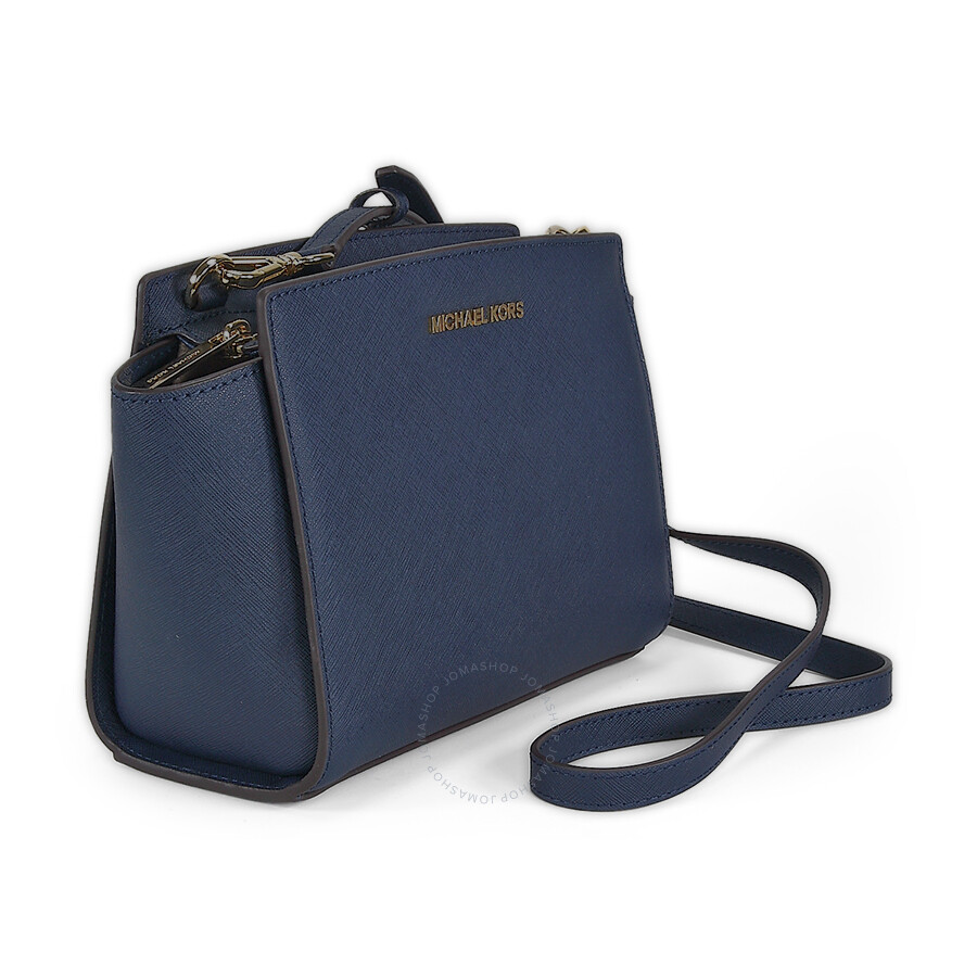 ae3dc4581987 Michael Kors Selma Saffiano Leather Medium Messenger Bag - Navy ...