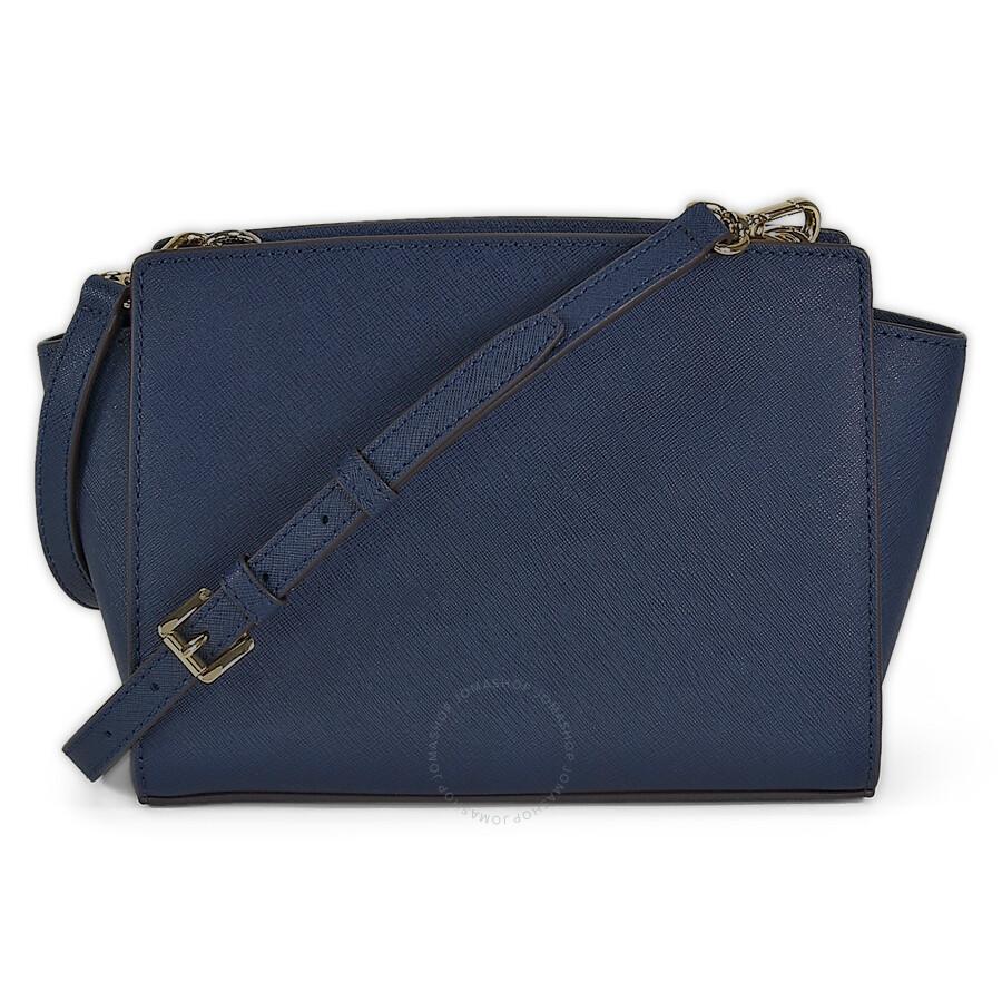 21d8f01826ff Michael Kors Selma Saffiano Leather Medium Messenger Bag - Navy ...