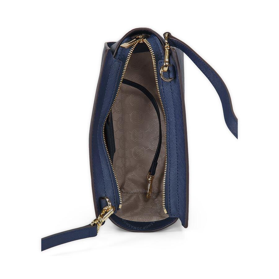 Michael Kors Selma Saffiano Leather Medium Messenger Bag - Navy ... 8e5a8a7d5fd93