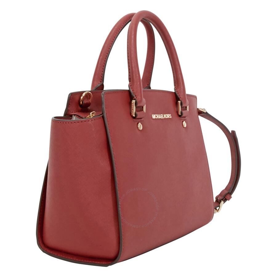 1ab91b8036ed Michael Kors Selma Saffiano Leather Medium Satchel - Brick - Selma ...