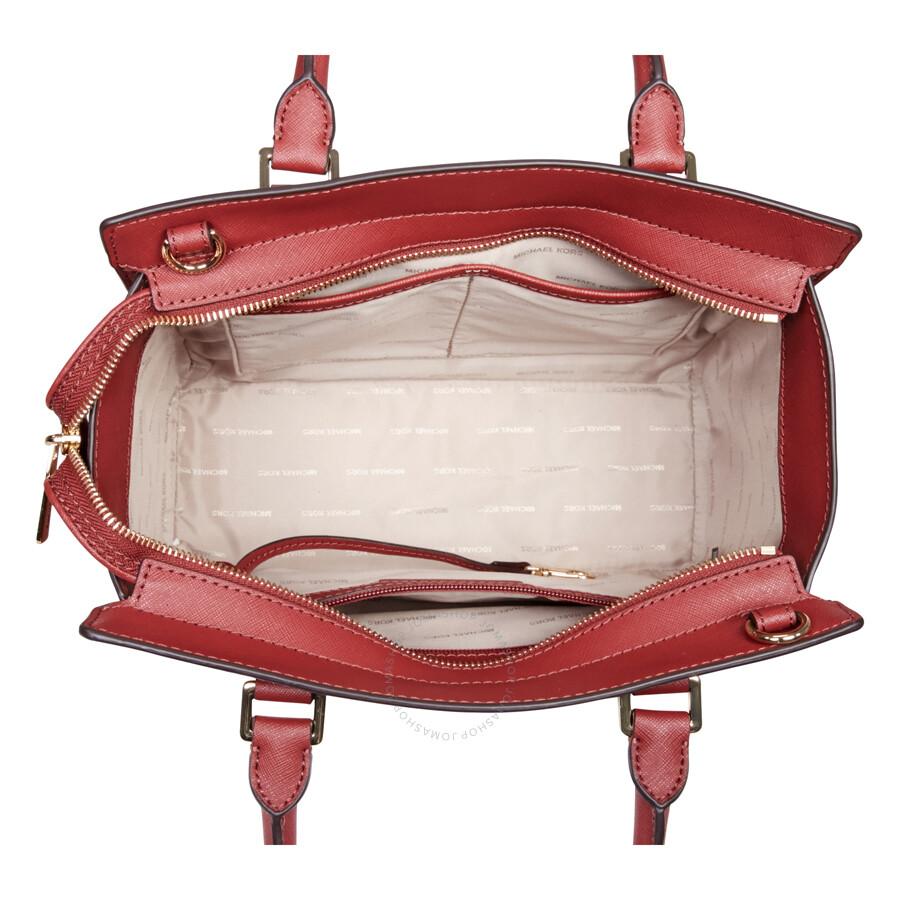 f3d978f1bd04 Michael Kors Selma Saffiano Leather Medium Satchel - Brick - Selma ...
