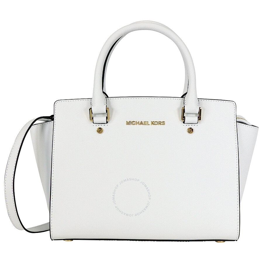 57ad1edfa42eeb Michael Kors Selma Saffiano Leather Medium Satchel - Optic White Item No.  30S3GLMS2L-085