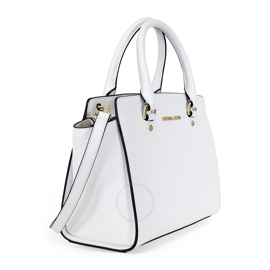 4c34dce05519 Michael Kors Selma Saffiano Leather Medium Satchel - Optic White ...