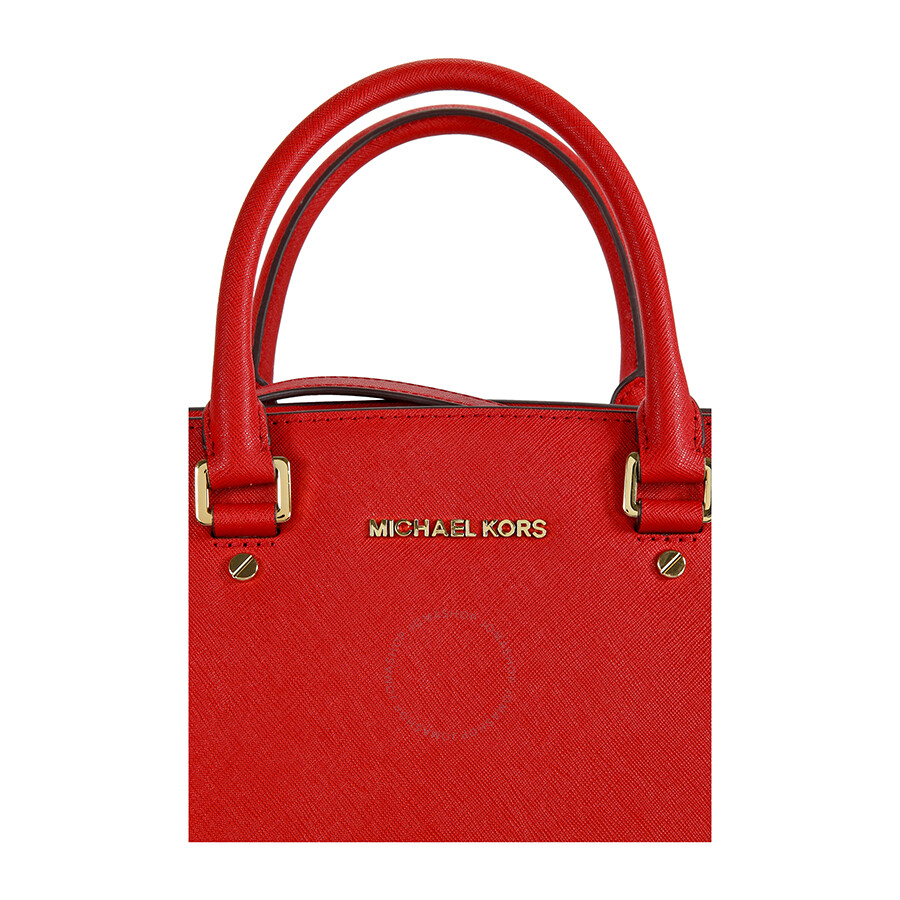 michael kors selma saffiano leather satchel handbag in red selma michael kors handbags. Black Bedroom Furniture Sets. Home Design Ideas