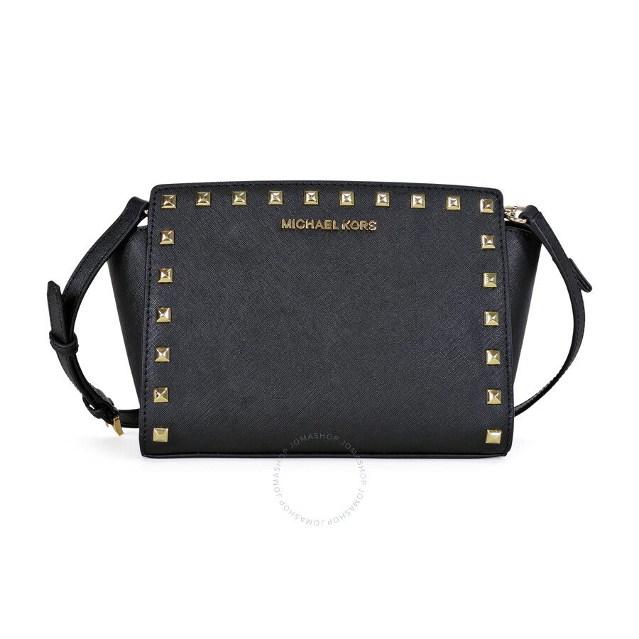 Michael Kors Selma Stud Leather Medium Messenger Bag - Black