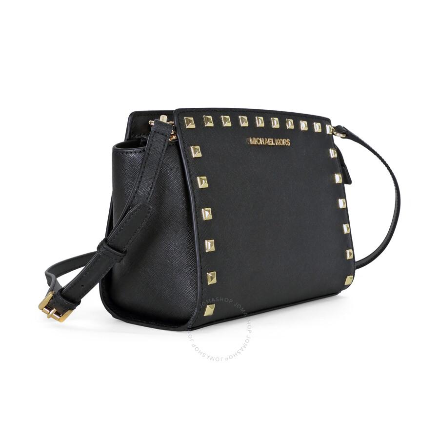 e0d1b83ddaa6 Michael Kors Selma Stud Leather Medium Messenger Bag - Black - Selma ...