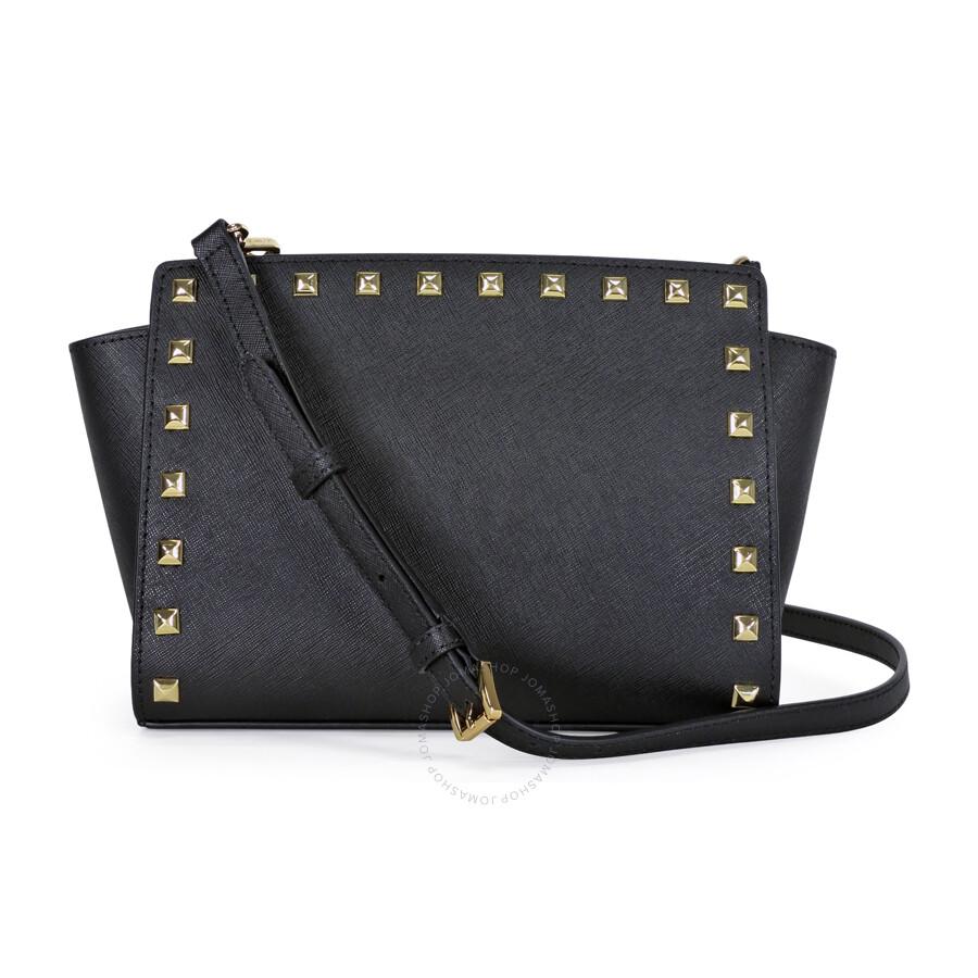 15d3ad09b348 Michael Kors Selma Stud Leather Medium Messenger Bag - Black - Selma ...