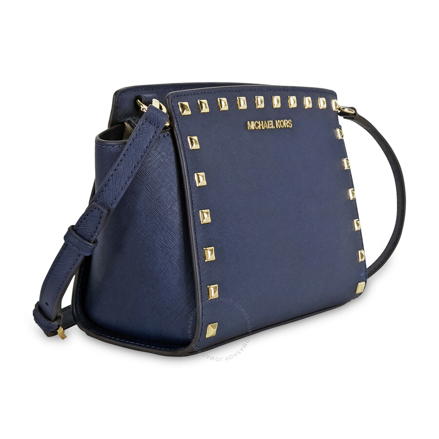 a174ec67a2b698 Michael Kors Selma Studded Leather Medium Messenger Bag - Navy ...
