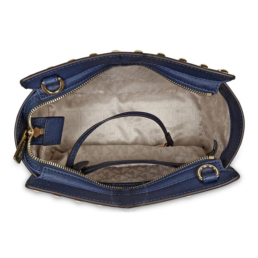 d6abd2183af4 Michael Kors Selma Studded Leather Medium Messenger Bag - Navy ...