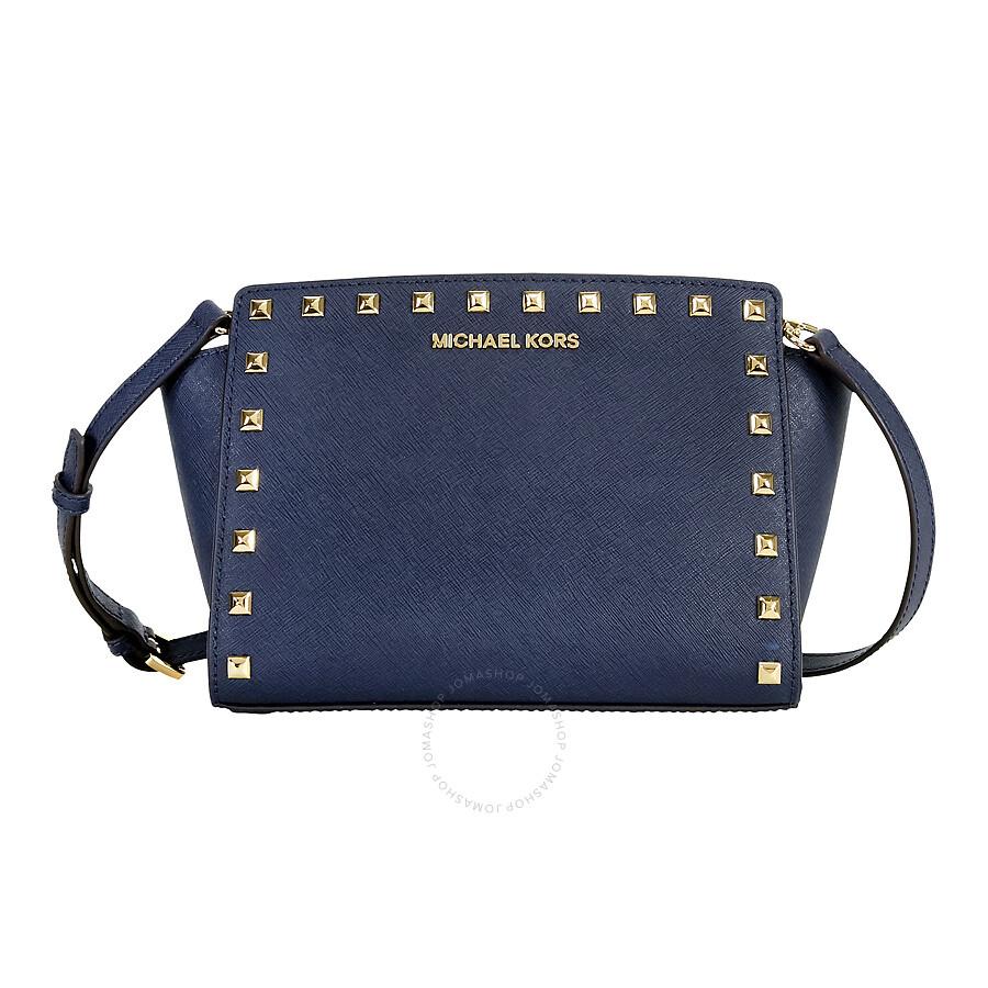 fe94bd00b8a246 Michael Kors Selma Studded Leather Medium Messenger Bag - Navy Item No.  30T3GSMM2L-406