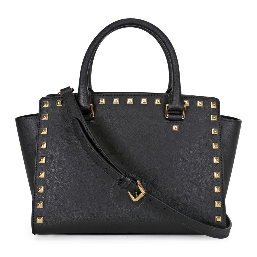 michael kors selma studded saffiano leather satchel black selma michael kors handbags. Black Bedroom Furniture Sets. Home Design Ideas
