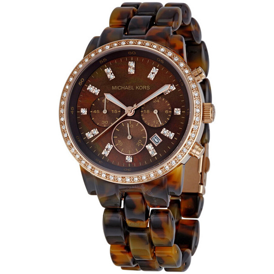 c4fc9a38259b Michael Kors Showstopper Brown Dial Chronograph Ladies Watch MK5366 ...