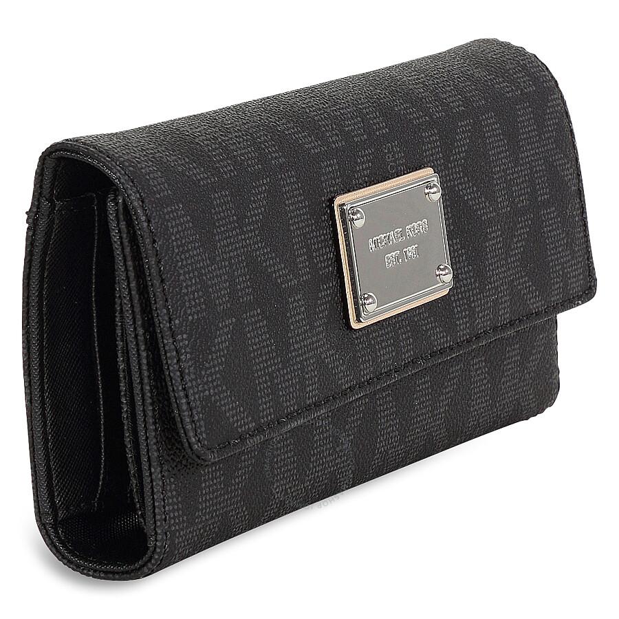 c9b950ad4f80 Michael Kors Signature Checkbook Wallet - Black - Jet Set - Michael ...
