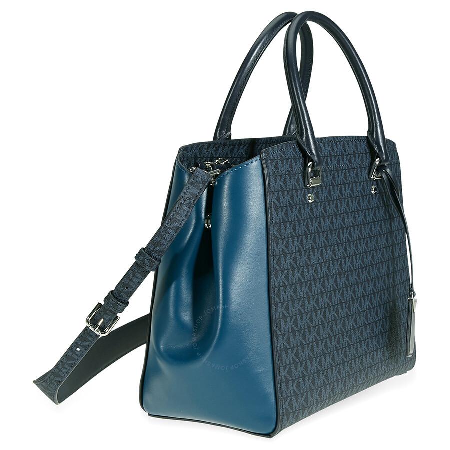 d067fdecc424 Michael Kors Benning Signature Logo Print Tote Bag - Blue - Michael ...