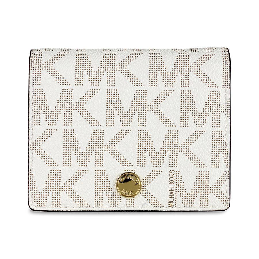 1ea385d97165ef Michael Kors Signature Mini Wallet / Card Holder - Vanilla - Michael ...