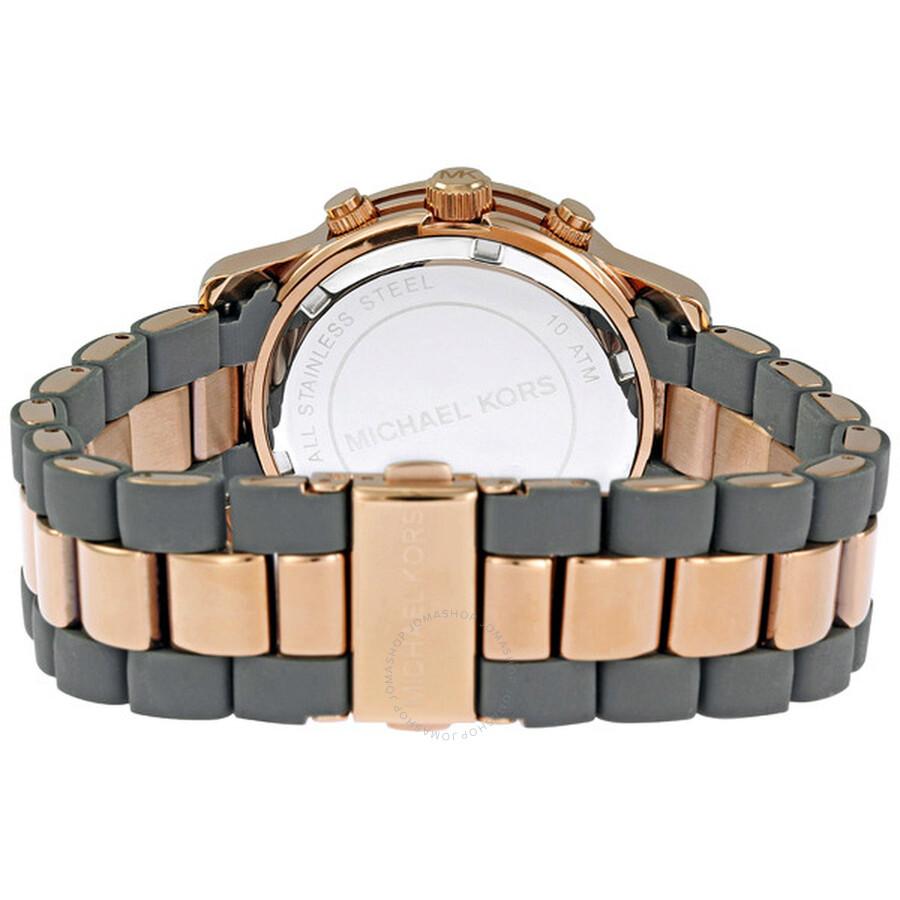 2477fa3254a29 ... Michael Kors Silicone Runway Rose Gold-tone Chronograph Ladies Watch  MK5465 ...