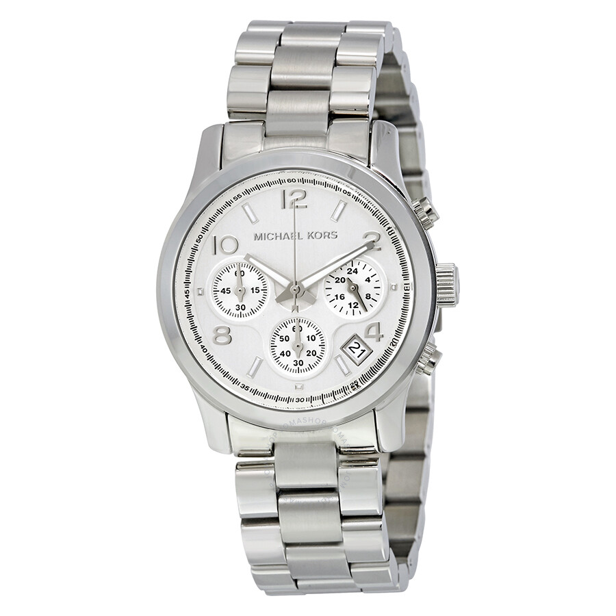 5e839809dbf6 Michael Kors Silver Midsized Chronograph Ladies Watch MK5076 ...