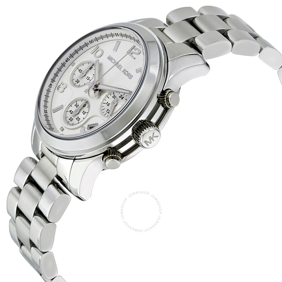 2ea5588d9f6a ... Michael Kors Silver Midsized Chronograph Ladies Watch MK5076 ...