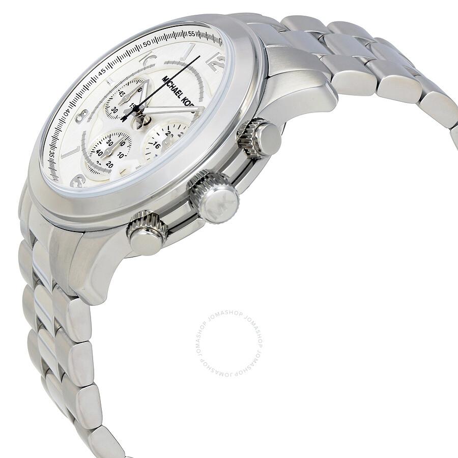 e55eb87a5bf5 Michael Kors Silver Oversized Runway Watch MK8086 Michael Kors Silver  Oversized Runway Watch MK8086 ...