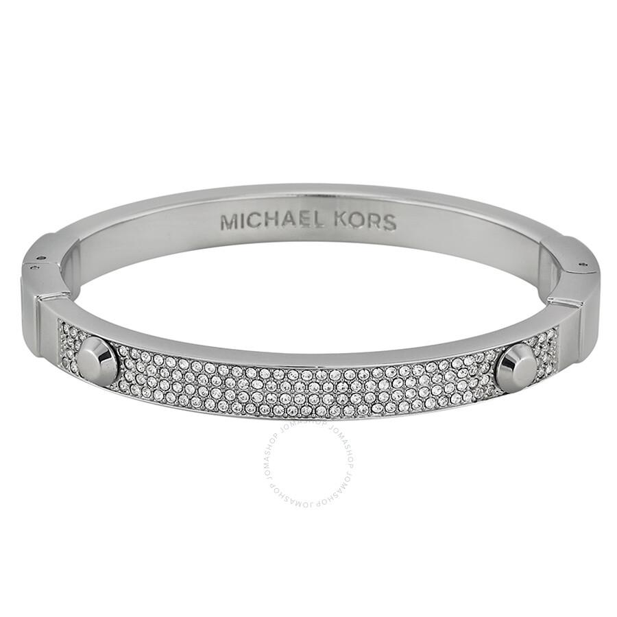d364c712f1ee4 Michael Kors Silver-Tone Crystal Pave Astor Stud Bangle Bracelet MKJ2746040  ...