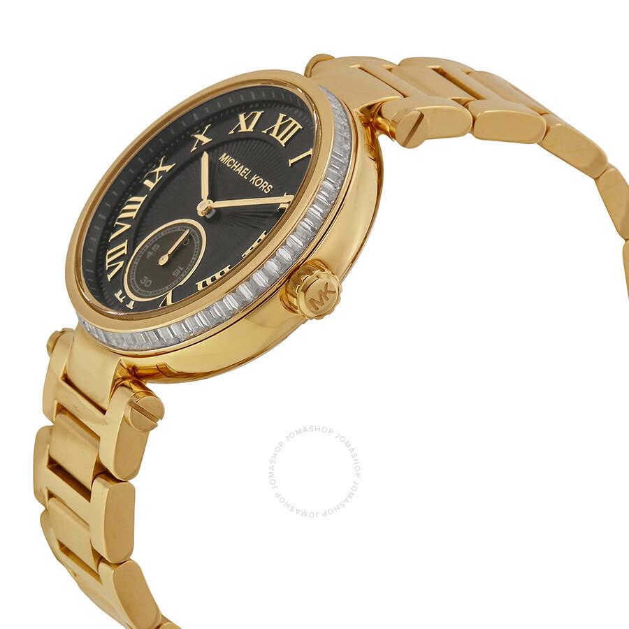 Michael kors skylar black dial gold tone ladies watch mk5989 skylar michael kors watches for Gold dial ladies watch