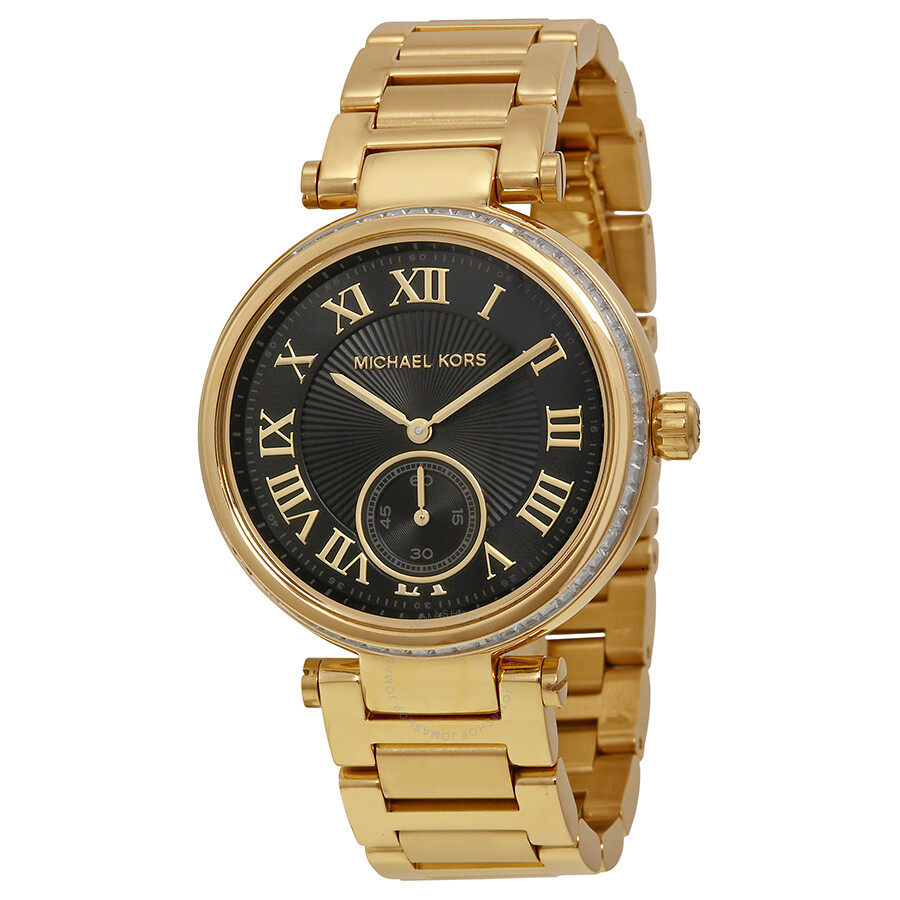 Michael Kors Skylar Black Dial Gold-tone Ladies Watch ...