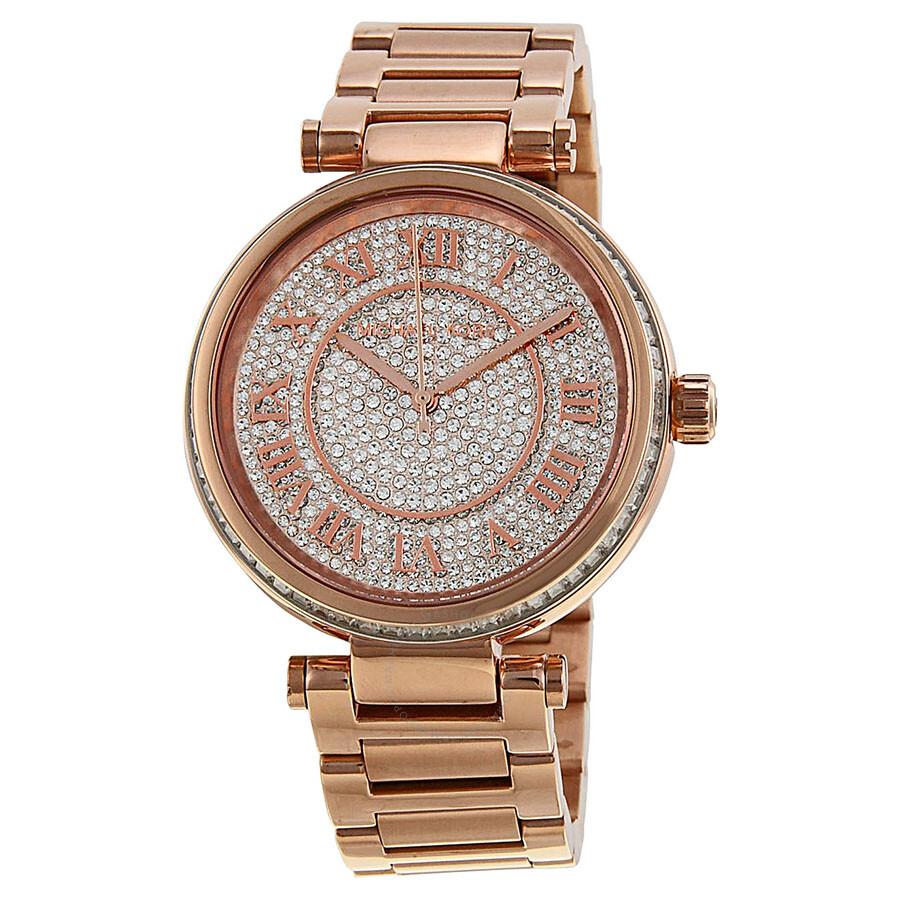 b27e2ba4dbe4 Michael Kors Skylar Crystal Pave Dial Rose gold-tone Ladies Watch MK5868 ...