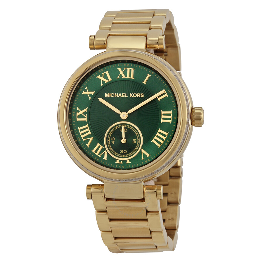 0c8a74034f21 Michael Kors Skylar Emerald Green Dial Gold-tone Ladies Watch MK6065 ...