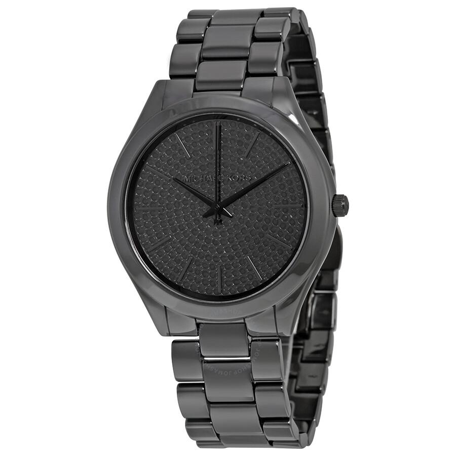 8752a1d14 Michael Kors Slim Runway Black Crystal Pave Dial Ladies Watch MK3449 ...