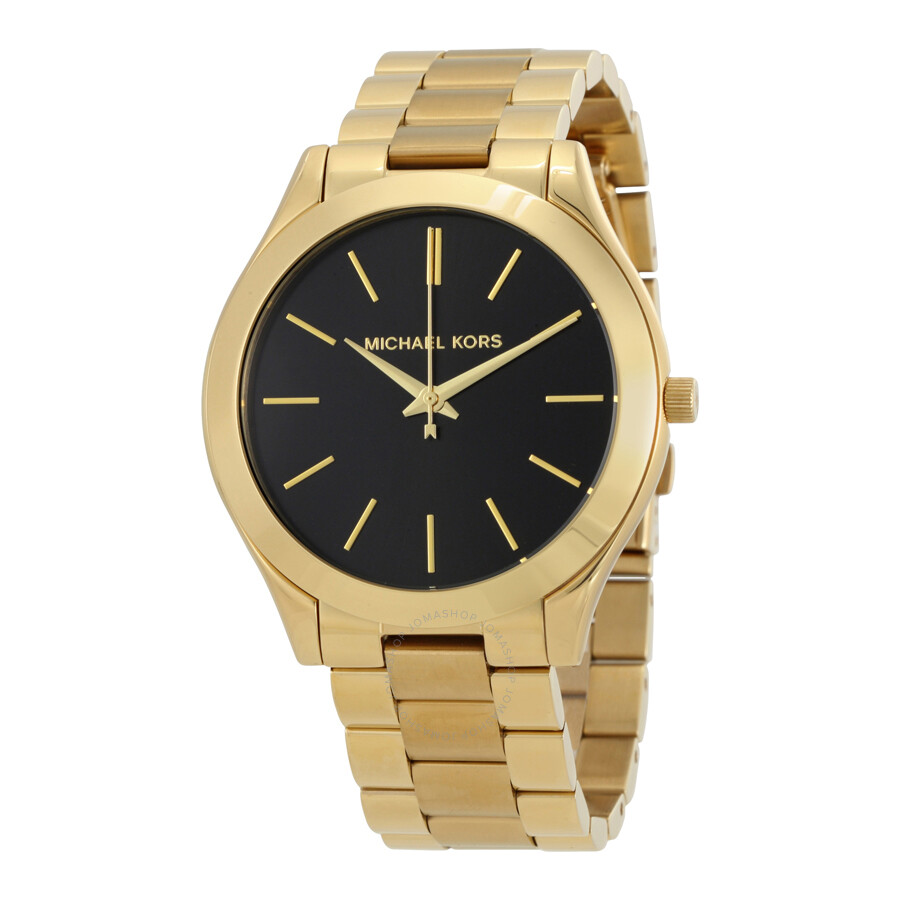 Details about Michael Kors Women's MK3478 'Slim Runway' Gold tone Stainless Steel Watch