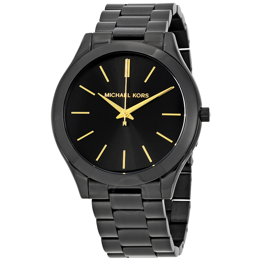 b89bc6caa8 Michael Kors Slim Runway Black Dial Black Ion-plated Unisex Watch MK3221 ...