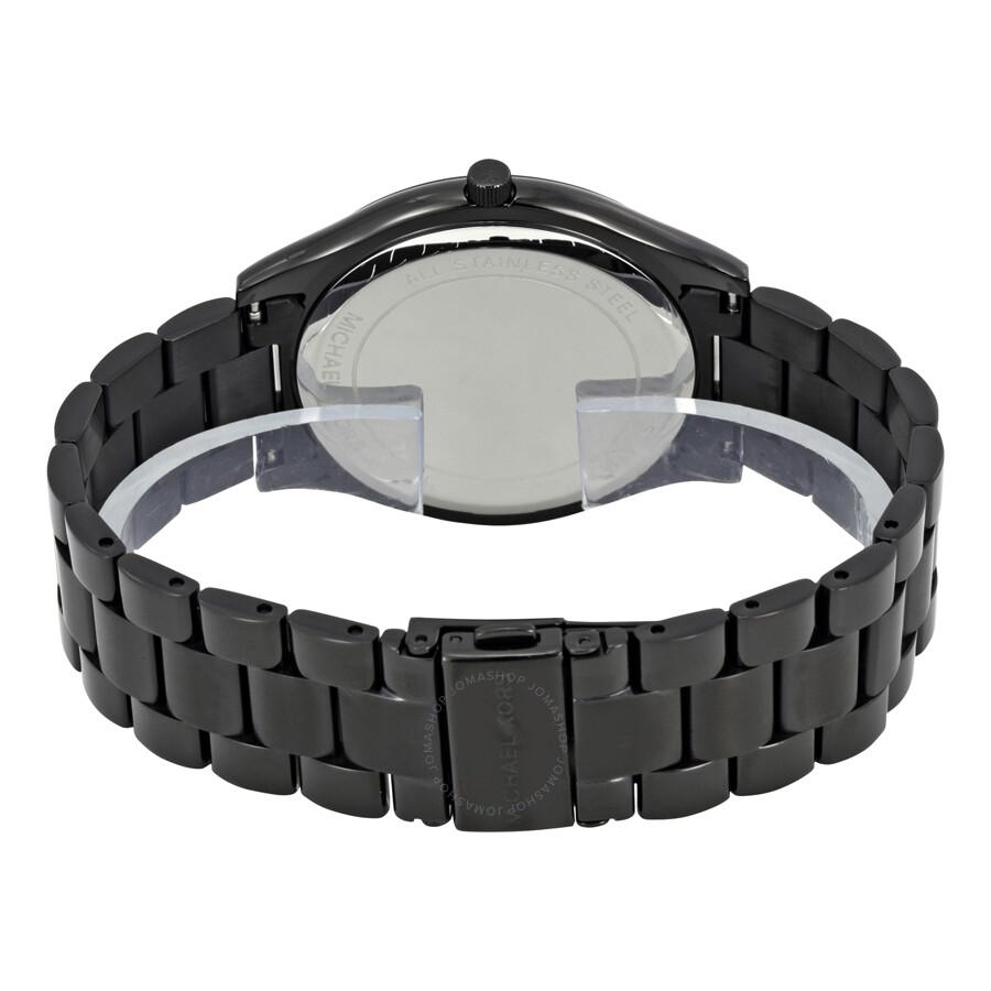 f60c71b2fa5 ... Michael Kors Slim Runway Black Dial Black Ion-plated Unisex Watch MK3221