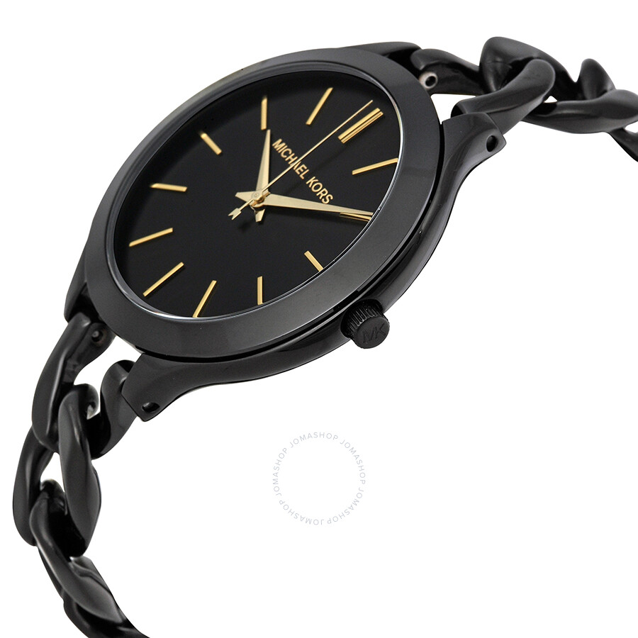 dae00922b03a ... Michael Kors Slim Runway Black With Gold-Tone Stick Markers Women s  Watch MK3317 ...