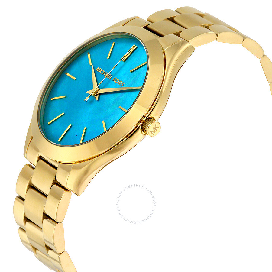7ed584809afa ... Michael Kors Slim Runway Blue Mother Of Pearl Dial Ladies Watch MK3492  ...