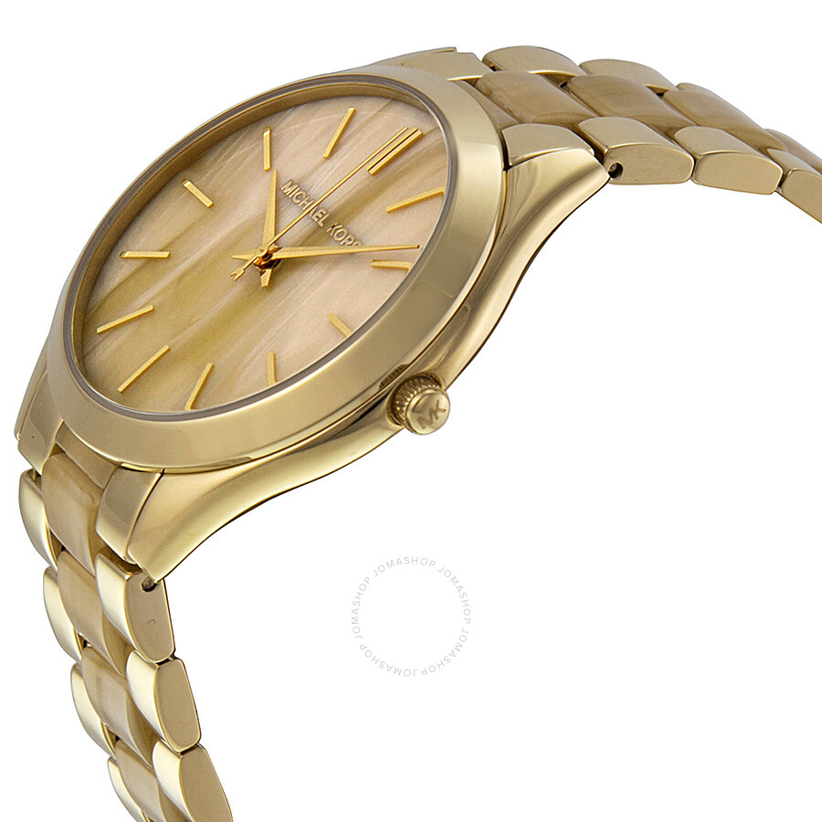 ... Michael Kors Slim Runway Champagne Dial Gold-tone and Milky Horn Ladies  Watch MK4285 ...