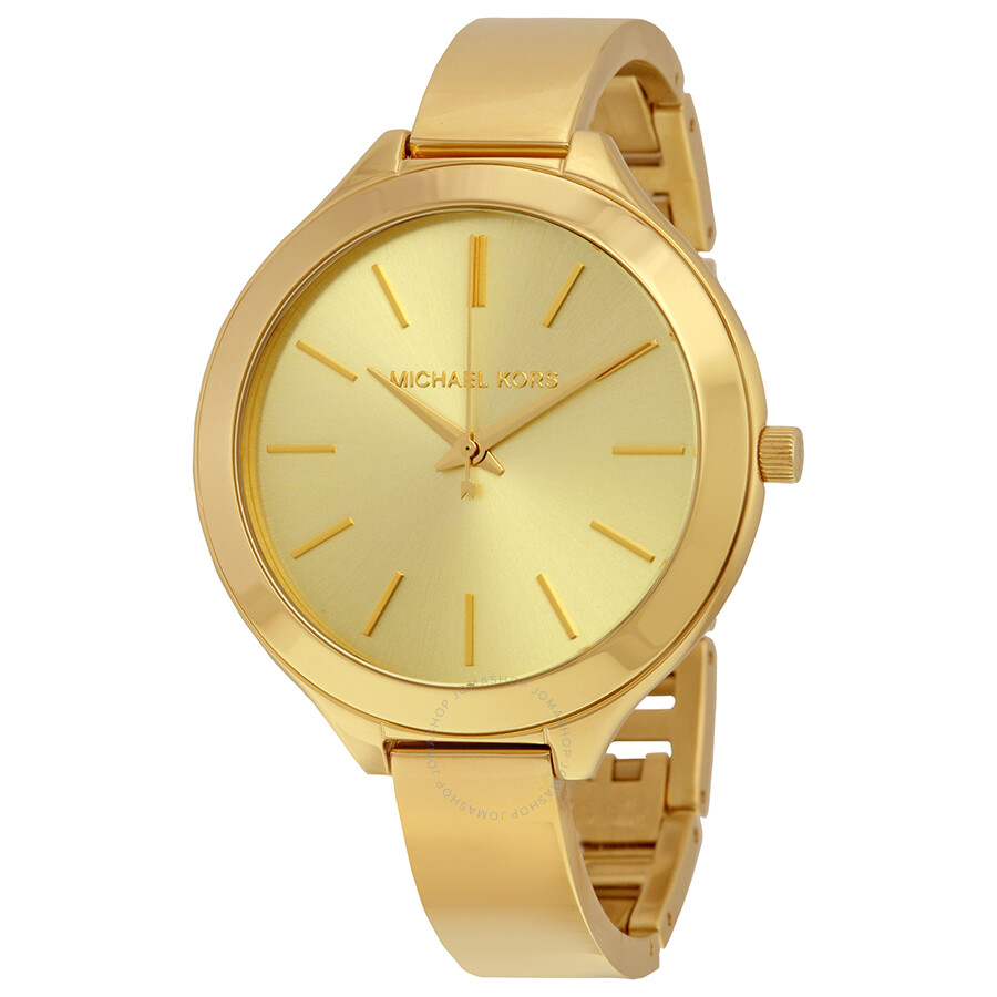 Michael kors slim runway champagne dial gold tone ladies watch mk3275 slim runway michael for Watches michael kors