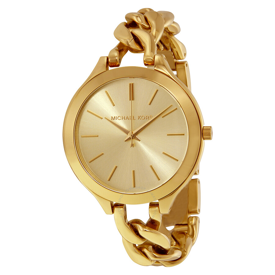 4fc8c5795ecc Michael Kors Slim Runway Champagne Dial Gold-tone Ladies Watch MK3222 ...
