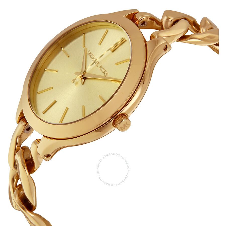 fb0d3277b17d ... Michael Kors Slim Runway Champagne Dial Gold-tone Ladies Watch MK3222  ...