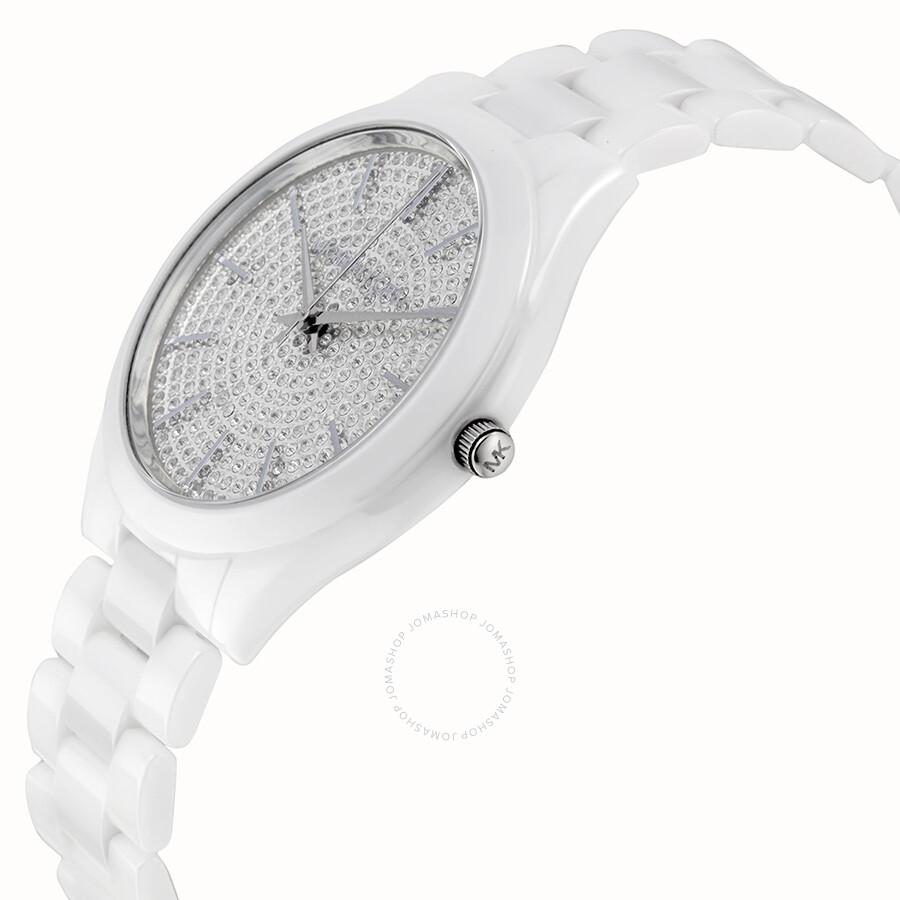 070f45725 ... Michael Kors Slim Runway Crystal Pave Dial Ceramic Ladies Watch MK3448  ...