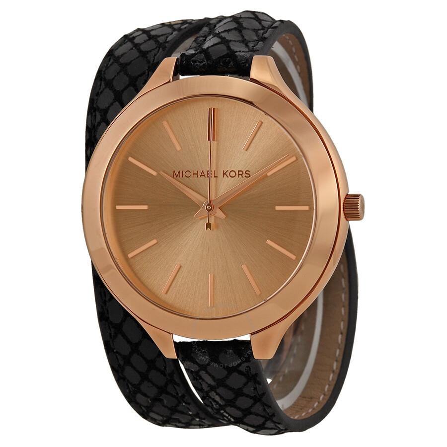ade91258b177 Michael Kors Slim Runway Rose Dial Black Embossed Leather Ladies Watch  MK2322 ...