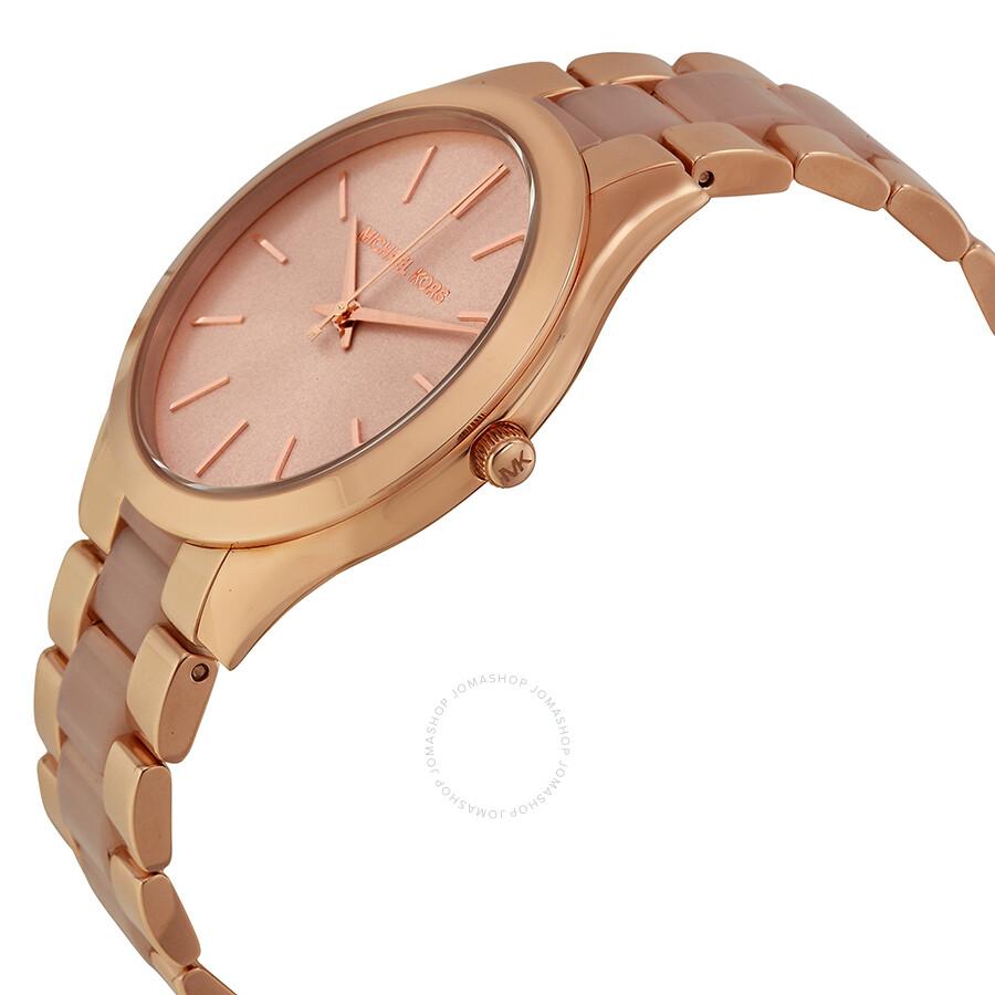 d8fa62861289 ... Michael Kors Slim Runway Rose Dial Rose Gold-tone Ladies Watch MK4294  ...