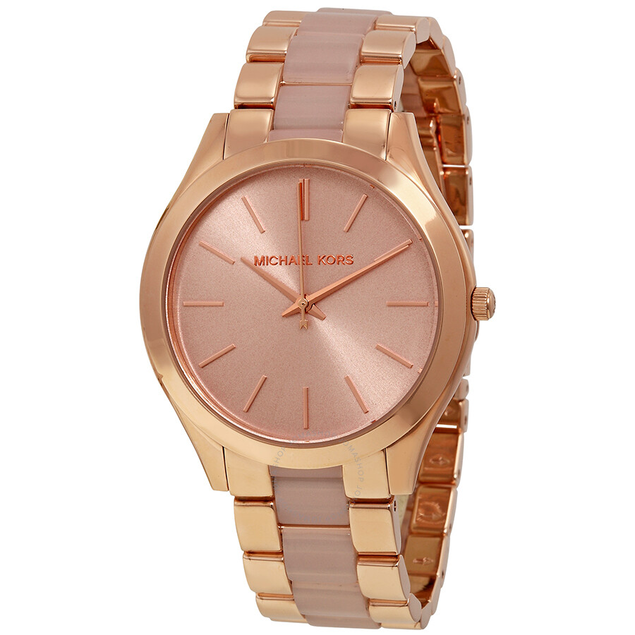 michael kors slim runway rose dial rose gold tone ladies watch mk4294 slim runway michael. Black Bedroom Furniture Sets. Home Design Ideas
