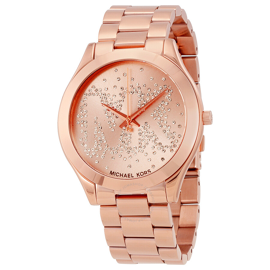 michael kors slim runway rose gold tone dial ladies watch. Black Bedroom Furniture Sets. Home Design Ideas
