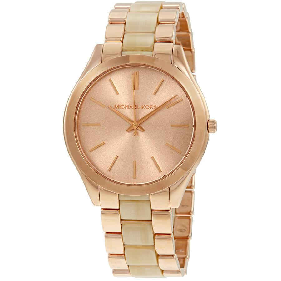 b55da8c65bc2 Michael Kors Slim Runway Rose Gold-tone Ladies Watch MK3714 - Slim ...